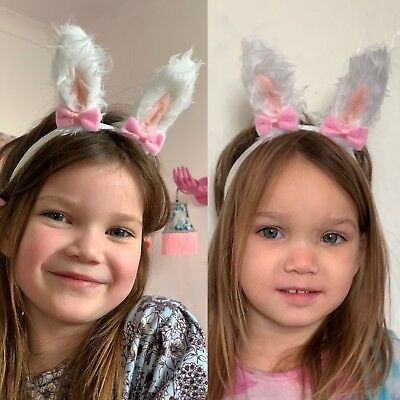 Baby Girl Headbands Fur Bunny Ears With Bow Headband Newborn Girls Hairbows Soft
