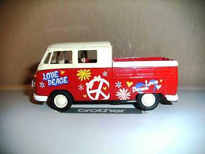 VW T1 Pritsche  Doppelkabine Welly Modellauto 1:38 + 1 T1 Welly 1:64