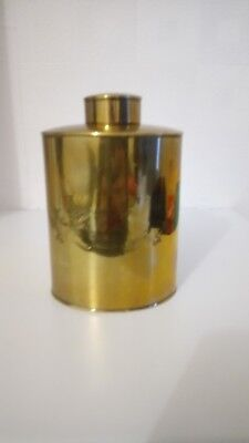 """JS&S Solid Brass, Tea Caddy, Flask, Made in England. 6,5""""high perimeter 14"""""""