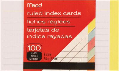 "Mead Index Card 3""X5"" 100/Pkg-Ruled Assorted Colors"