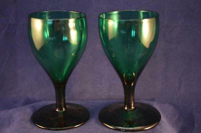 ANTIQUE GEORGIAN BRISTOL GREEN GLASS TULIP WINE GLASSES  - PAIR - c1830