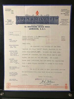 1939 London Letter - Jobson & Beckwith Ltd - Engineers & Manufacturers  - ref204