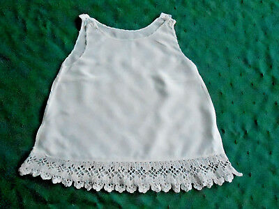 Antique Handmade Baby Slip With A Hand Crochet Lace Trim, White Rayon,circa 1930