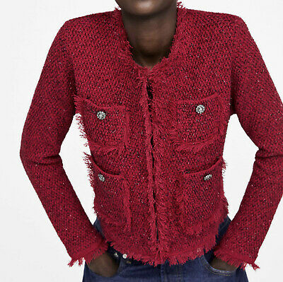 With Embellished 8151765 Jacket Zara New Buttons Frayed S Chaqueta 8wPk0OnX