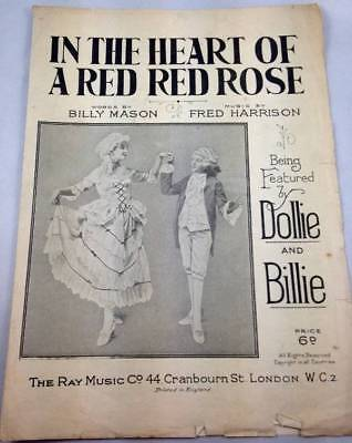 Vtg In the Heart of A Red Red Rose Featured Dollie & Billie 1921 Voice Piano