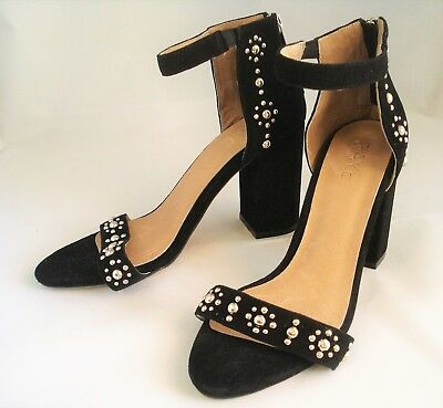 dae7c319fba7 RAYE Black suede studded ankle strap heels size 6.5 US- 37Euro MSRP $160.00
