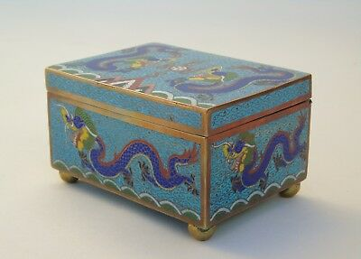 Antique Chinese Lidded Cloisonne Dragon Box