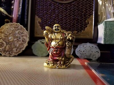Vintage Resin Red & Gold Chinese Buddha and Dragon Figurine Small Figure Budai