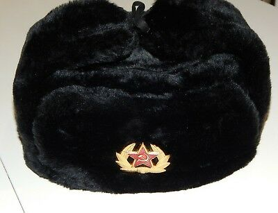 Soviet Russian army soldier winter cap hat ushanka+ Red star Badge SIZES 58-61