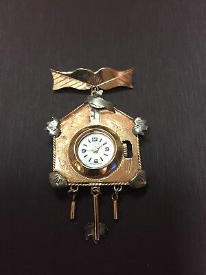 Unique Vintage 18k Pink/Rose and white gold Handmade Cuckoo Clock Watch Pin