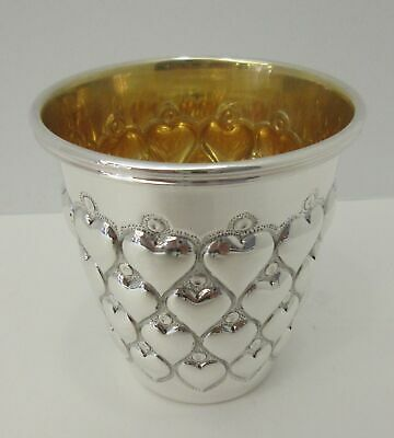 Fine Italian 925 Sterling Silver & Gilded Hand Wrought Pave Heart Love Short Cup