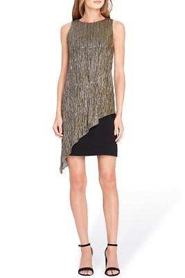 c2c9ba13 Tahari Brand - Metallic Overlay Sheath Dress - Black - Gold - 2