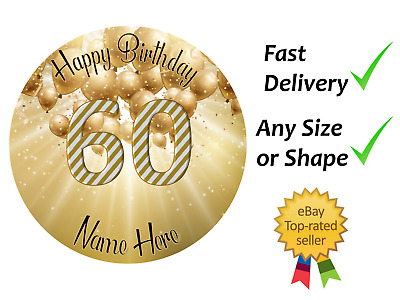 60th Birthday Cake Cupcake Toppers Edible Wafer Icing Sheet Personalised