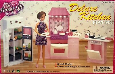 My Fancy Life Barbie Size Dollhouse Furniture Deluxe Kitchen Play Set