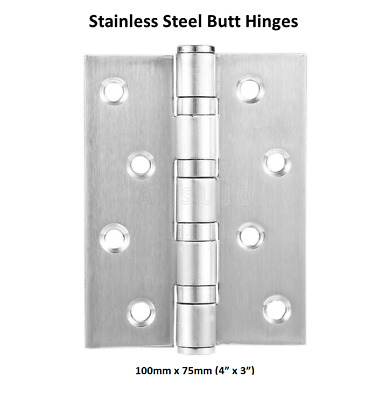 "1 Stainless Steel 100mm X 75mm / 4""X3"" Butt Door Hinges Ball Bearing Heavy Duty"