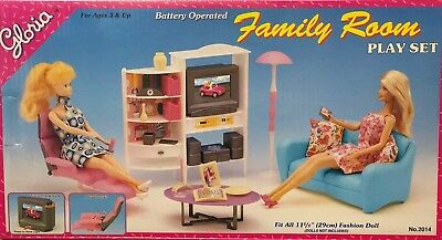 Gloria Barbie Size Dollhouse Furniture Family Room Play Set