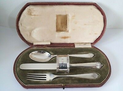 1914 Sterling Silver Christening Set in Fitted Case - Elkington & Co