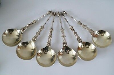 1874 Set of 6 Sterling Silver Serving Spoons - Henry Holland