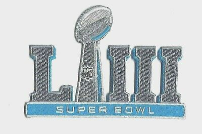 "NFL SUPER BOWL LIII 53 2019 JERSEY PATCH IRON ON PATRIOTS VS RAMS 3.5"" x 4.75"""