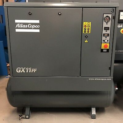 Atlas Copco GX11FF Receiver Mounted Rotary Screw Compressor With Dryer! 49Cfm!