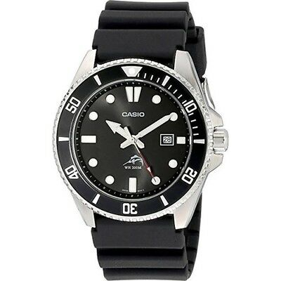 Men's Stainless Steel Dive-Style Watch Black Resin Strap porty designC.a.s.i.o.