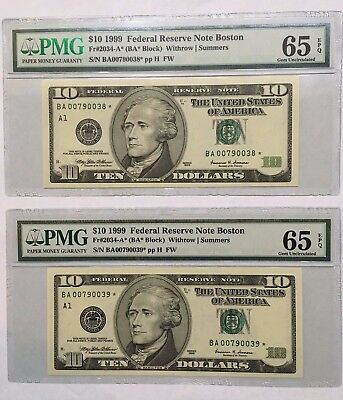 1999 $10 BOSTON * STAR * ⭐️ FRNs, 2 CONSECUTIVE & PMG GEM UNCIRCULATED 65 EPQ