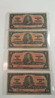 Bank Of Canada 1937-4-$2 Rare Notes Selling 1 Note $ 30 Each