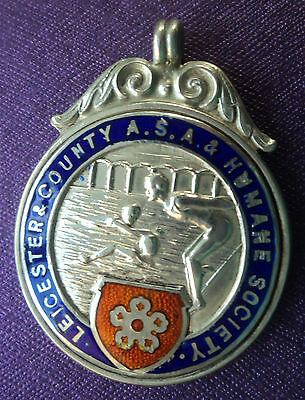 Silver & Enamel Leicester Swimming / Water Polo Medal or Fob  - 1935 Chester