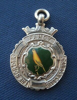 Stg. Silver & Enamel Bird Fob Medal h/m 1931 Chester - Border Fancy Canary Club