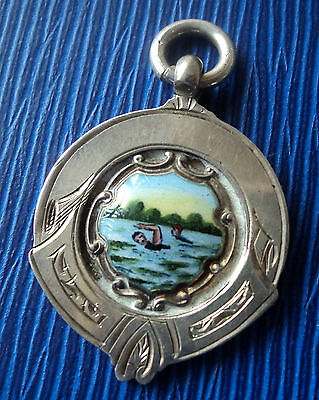 Sterling Silver Enamel Swimming Fob Medal / Pendant 1935 Chester - not engraved