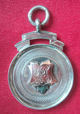 Vintage Silver & Gold Fob Medal - Rowing / Sculling h/m 1921 Birmingham