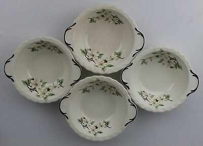 4 Vtg. Pope-Gosser Sterling Dogwood Shell Edge Lugged Cereal Bowls - Made in USA