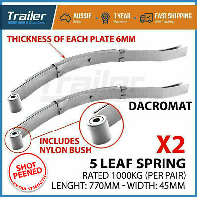 2x 5 LEAF EYE SLIPPER DACROMAT SPRING  900kg RATING TRAILER  BOAT DACROMET