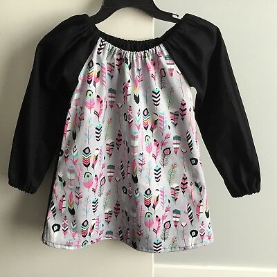 Handmade Cotton Art Smock ~ Feathers Print ~ Size 5 - 7