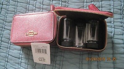 New Coach Metallic Pink Blush Leather Triple Pill Box Travel Case F37569