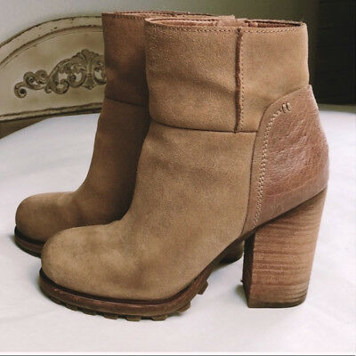 28e79954390522 SAM EDELMAN FRANKLIN Suede Ankle Boots 6 Black Suede   Leather ...