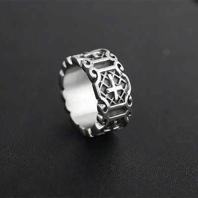 Stainless Steel Cross Ring 10mm Crucifix Medieval Knight Silver Jewelry For Men