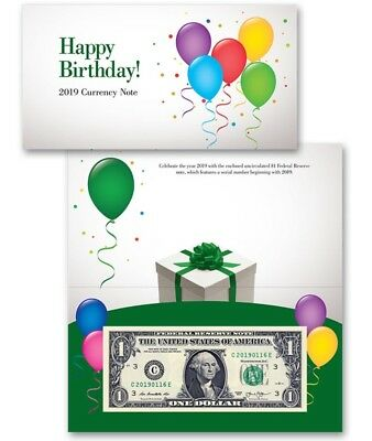 "Federal Reserve $1 Happy Birthday Currency Note ""2019 Start Serial""Number UNC LE"