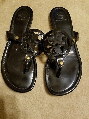 523733828be2 Tory Burch  USED  Miller SIZE 9 Black Patent Leather Logo Flat Sandals   LOWER