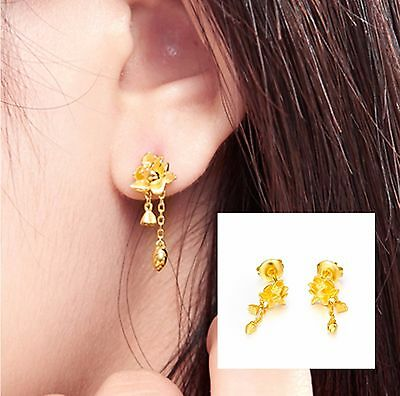 Pure Solid  24K Yellow Gold Earrings / Perfect Flower Dangle Earring / 3.4-3.7g