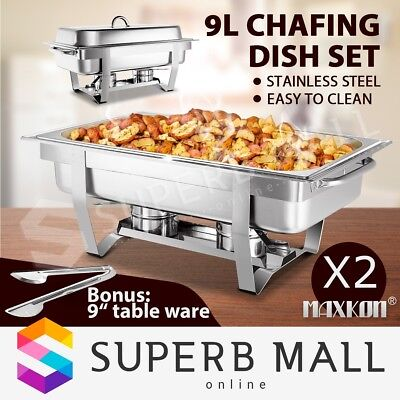 2 Set  Bain Marie Bow Stainless Steel Chafing Dish Food Buffet Warmer Tray 9L