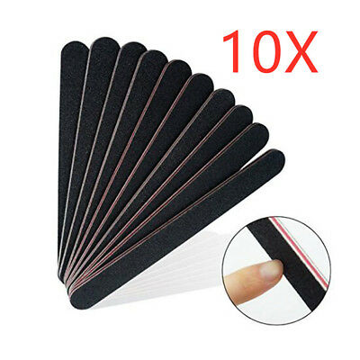10x Double Sided 100/180 Grit Boomerang/Crescent Curved Nail Files Emery Board