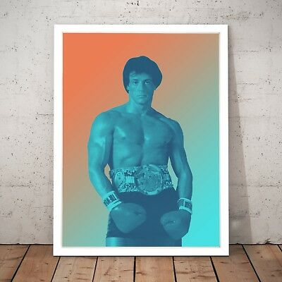 Rocky Retro Boxing Champ 80s Orange & Teal Art Poster Print - A3 A2 A1 A0 Framed