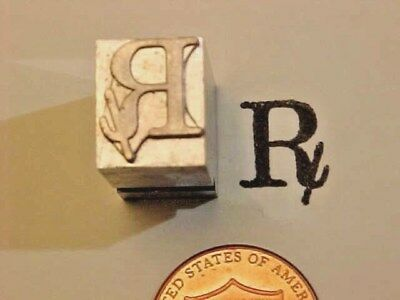 RX Symbol Stamp Pharmacy Medicine! Prescriptions DRUGS! Letterpress Printers Cut
