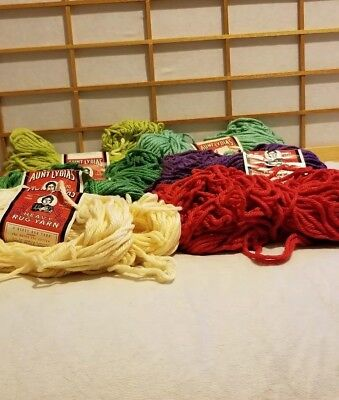 LOT of  8 SKEINS AUNT LYDIA'S HEAVY POLYESTER/COTTON  RUG YARN Assorted colors