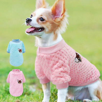 Small Dog Sweater Knitted Jumper Embroidery Chihuahua Clothes for Pets Puppy Cat