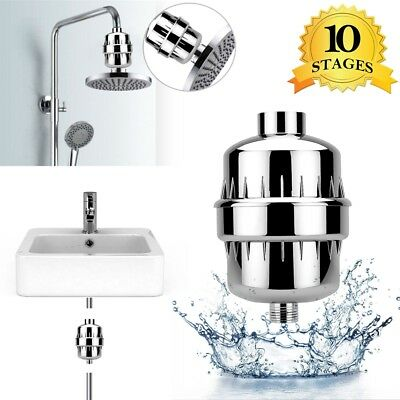 Universal Shower Head Water Filter with 2 Filter Cartridges 10-Stage