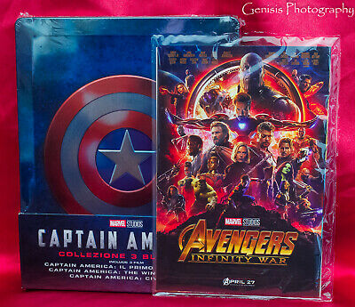 Captain America Trilogy Steelbook * Region Free Import New + Art Cards