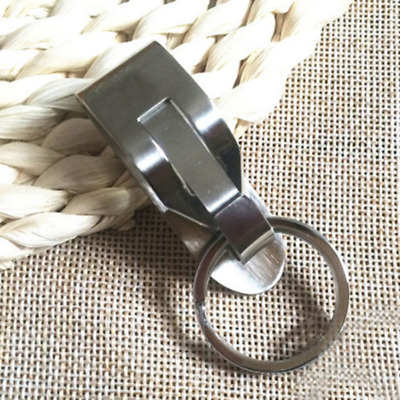 Security Belt Key Ring Clip On & Release Keychain Key Holder Stainless Steel UNI