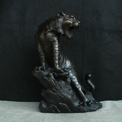 "15"" China old antique Tibet copper luck go up mountain Tiger statue"